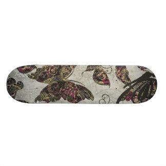 Grunge Butterflies Blk Gray Purple Paisley Floral Skateboards