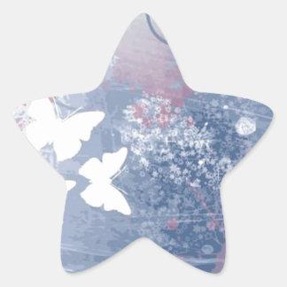 Grunge butterfly background star sticker