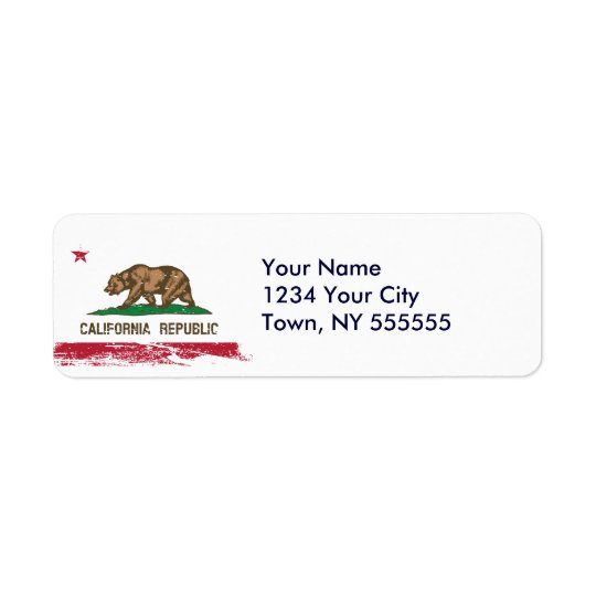 Grunge California State Flag Return Address Label