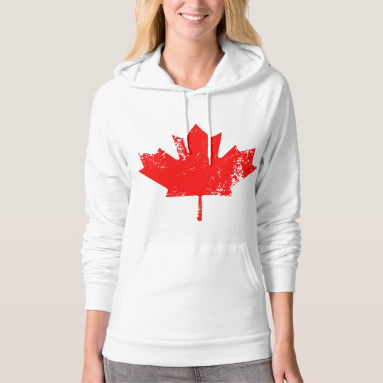 Grunge Canada Flag Maple - Red Distorted Hoodie