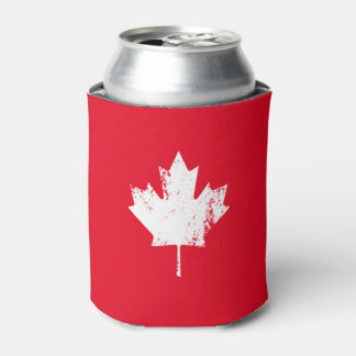 Grunge Canada Flag Maple - Red Distressed Can Cooler