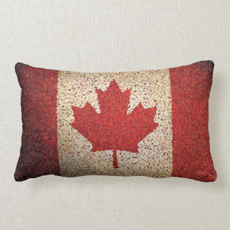 Grunge Canadian Maple Leaf Flag Lumbar Pillow
