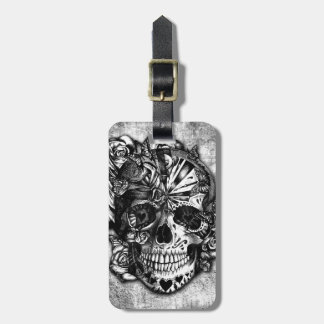 Grunge Candy sugar skull in black and white. Luggage Tag