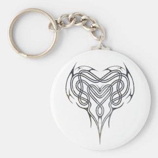 Grunge Celtic Heart Knot Key Ring