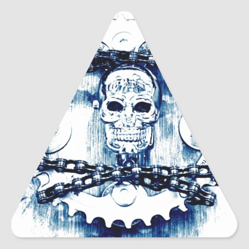 Grunge Chains Gears Skull, blue white, template Stickers