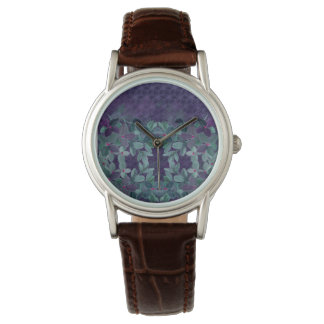 Grunge chalk watercolor flowers with lace pattern watch