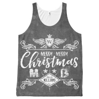 Grunge Chalkboard Merry Christmas Retro Typography All-Over Print Singlet