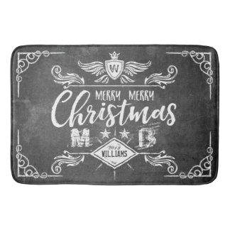 Grunge Chalkboard Merry Christmas Retro Typography Bath Mat