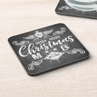 Grunge Chalkboard Merry Christmas Retro Typography Coaster