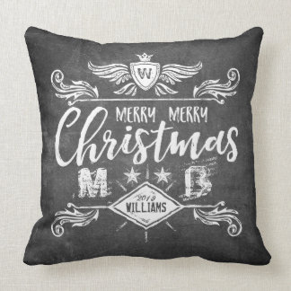 Grunge Chalkboard Merry Christmas Retro Typography Cushion