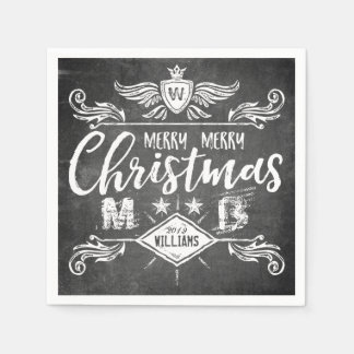 Grunge Chalkboard Merry Christmas Retro Typography Disposable Serviette