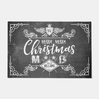 Grunge Chalkboard Merry Christmas Retro Typography Doormat