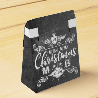 Grunge Chalkboard Merry Christmas Retro Typography Favour Box