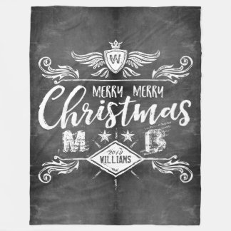 Grunge Chalkboard Merry Christmas Retro Typography Fleece Blanket