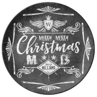 Grunge Chalkboard Merry Christmas Retro Typography Plate