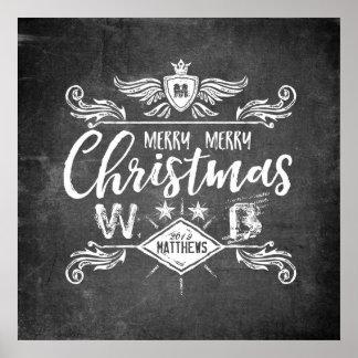 Grunge Chalkboard Merry Christmas Retro Typography Poster