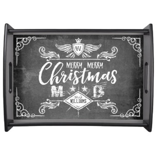 Grunge Chalkboard Merry Christmas Retro Typography Serving Tray