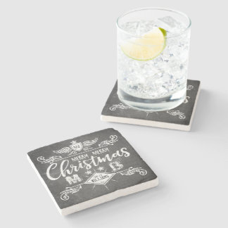 Grunge Chalkboard Merry Christmas Retro Typography Stone Coaster