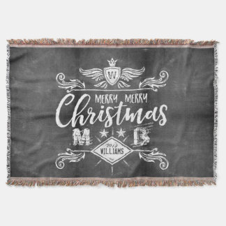 Grunge Chalkboard Merry Christmas Retro Typography Throw Blanket