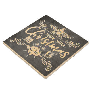 Grunge Chalkboard Merry Christmas Retro Typography Wood Coaster