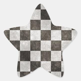 Grunge Checkers Star Sticker