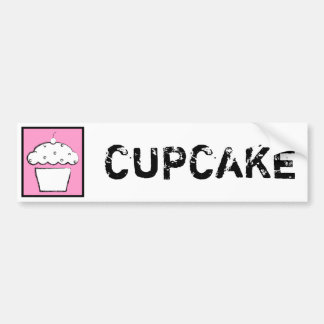 grunge cherry cupcake car bumper sticker