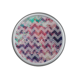 grunge chevron pattern personalized by name bluetooth speaker