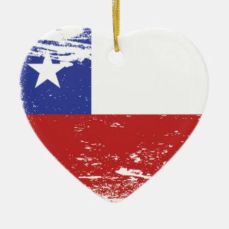Grunge Chile Flag Ceramic Heart Decoration