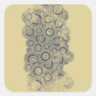 Grunge circles square stickers