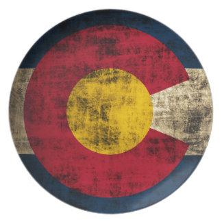 Grunge Colorado Flag Dinner Plates