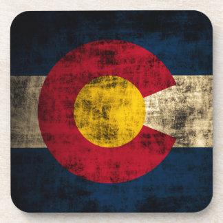Grunge Colorado Flag Drink Coaster