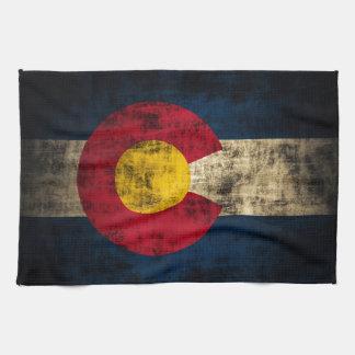 Grunge Colorado Flag Kitchen Towel