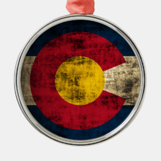 Grunge Colorado Flag Silver-Colored Round Decoration