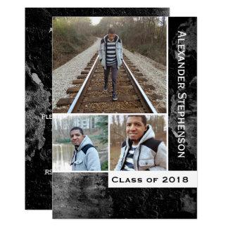 Grunge Concrete 3 Photo Boys Guys 2018 Graduation Card