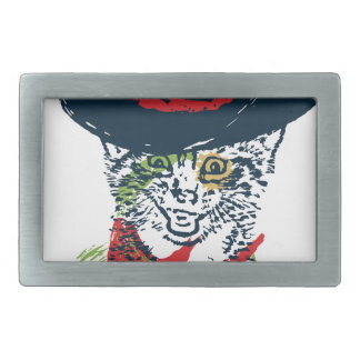Grunge Cowboy Cat Portrait 2 Belt Buckle