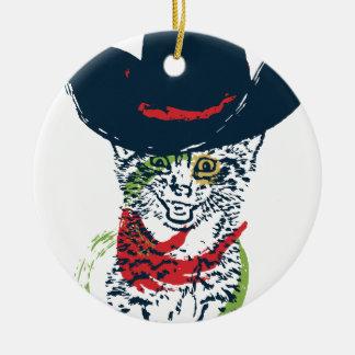 Grunge Cowboy Cat Portrait 2 Round Ceramic Decoration