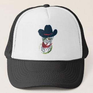 Grunge Cowboy Cat Portrait 2 Trucker Hat