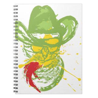 Grunge Cowboy Cat Portrait Notebook