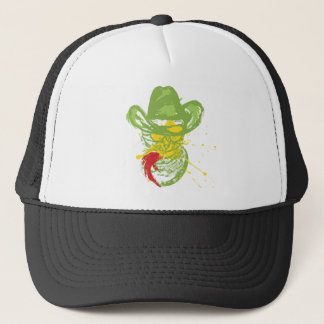 Grunge Cowboy Cat Portrait Trucker Hat