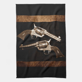 Grunge Cowboy Retro Western Country Pistols Tea Towel