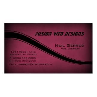 Grunge Curves Business Card, Burgundy