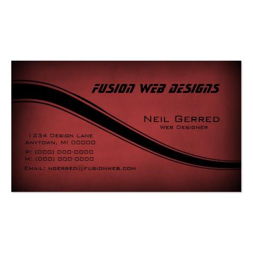 Grunge Curves Business Card, Crimson