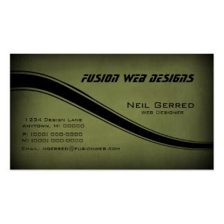 Grunge Curves Business Card, Dark Olive