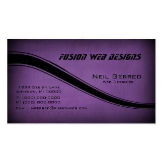 Grunge Curves Business Card, Eggplant