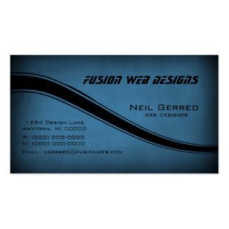Grunge Curves Business Card, Horizon Blue