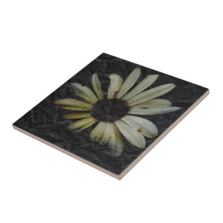 Grunge Daisy Ceramic Tile