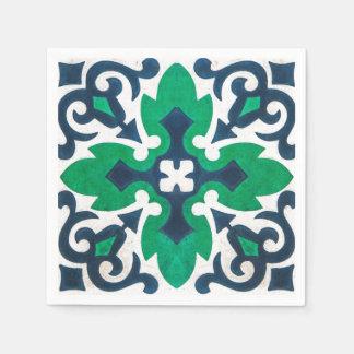 Grunge Damask Blue Green Swirl Paper Napkin