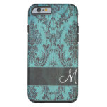 grunge damask Pattern with Monogram iPhone 6 Case