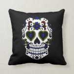 Grunge Day of the Dead Blue & Red Pillows