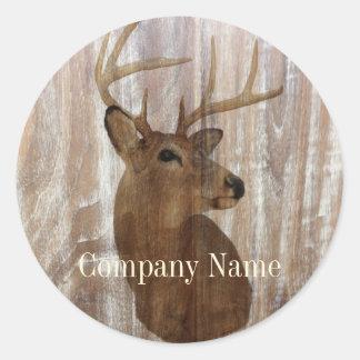 grunge deer woodgrain carpenter construction classic round sticker